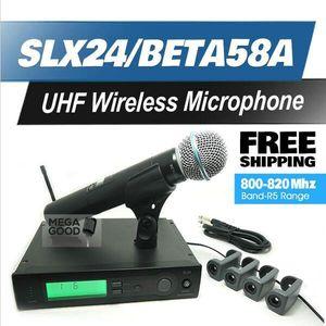 Microfono professionale Microfono UHF wireless SLX24 / BETA58 Alta qualità SLX senza fili 58A Palmare Karaoke Wireless System gratuito Microfoon