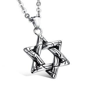 10 unids de aleación de plata antigua estrella de David Charm Colgante colgante para hombres MS Jewelry Accesorios de moda