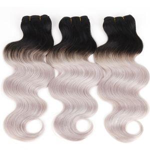 Paquetes de cabello humano Ombre Tejidos de cabello humano indio peruano de Malasia brasileño Dos tonos 1BLight Grey Ombre Extensiones de cabello 8A