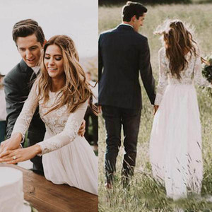 2019 Simple Applique Lace Top Chiffon Wedding Dresses A Line Long Sleeves Country Bridal Gowns Bohemain Floor Length Cheap