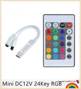 Mini DC12V 24Key RGB Controller Control remoto IR con mini receptor Para 3528/5050 RGB LED Strip Light / Controlador de cinta Led