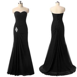 Elegante gasa cariño escote sirena vestidos formales con listones cruzada acanalada vestido de noche negro vestido de fiesta