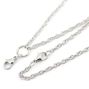 0.8mm 3mm Width 24'' Stainless Steel flat cable Necklace Chain For memory living Glass Locket & oil Diffuser Locket