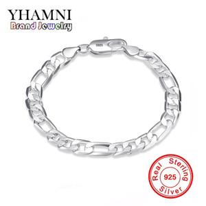YHAMNI Original Real Solid 925 Pure Silver Men Fashion Charm Bangle Regalo de la joyería de la boda de lujo H200
