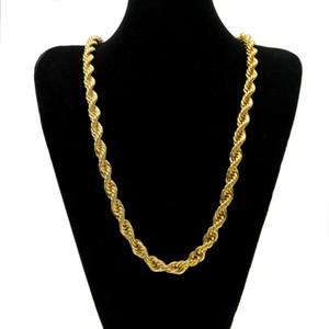 10mm Kalın 76 cm Uzun Halat Bükülmüş Zincir 24 K Altın Kaplama Hip hop Bükülmüş Ağır Kolye mens