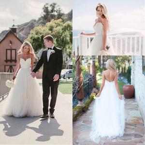 보헤미안 2018 빈티지 롱 웨딩 드레스 스파게티 스트랩 Tulle Sweetheart Neckline Floor Length Backless Beach Bridal Gowns