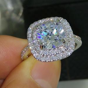 Tamaño 5-10 lujo de la joyería 925 sterlling lleno completo topacio CZ gema del diamante de la boda las mujeres simulado regalo de boda anillo de compromiso de diamantes