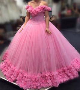 Eleganti abiti da ballo rosa rosati Quinceanera Abiti da spalla Fatto a mano fiori lunghi dolci da sedici anni Abiti da cerimonia per abiti da ballo per bambini