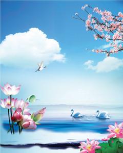 مخصصة الجداريات الكبيرة النسيج خلفيات 3d ورق الحائط غرفة الجلوس تلفزيون أريكة خلفية 3D242 مجردة الصينية الأزياء الحديثة الزهور