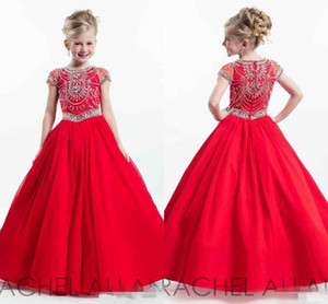 Glitz 2019 New Rachell Allan Red little Kids Girl Pageant Dresses Mangas curtas Vestidos de baile Da criança Little Kids Crystals Flower Girls Dress