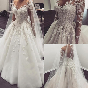 Luxury Lace Ball Gown Wedding Dresses 3D Appliqued Sheer jewel Long Sleeves Wedding Gowns Sweep Train Plus Size Bridal Dress