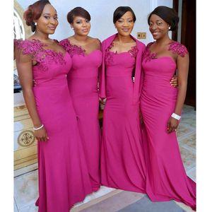 2018 africana fucsia sirena vestidos de dama de honor cuello escarpado apliques mangas cortas chaqueta de satén abrigo boda vestido de ráfaga vestidos de dama de Honor