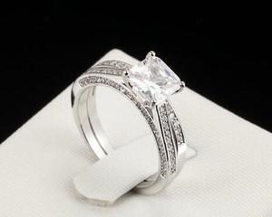 2CT Princesse-Lad Cut Diamond Solitaire Nuptiale Bague de Fiançailles Or Blanc 14k Finition