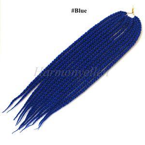 Blue Color 22'' 3D Cubic Twist Crochet Braid Hair Extensions Synthetic Senegalese Freetress Twist Hair Extensions