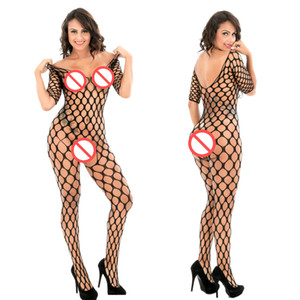 Sexy femme Mujer Collant Résille Clôture Jambo Net diamant maille à manches longues Bodystocking Bas Lingerie érotique Collants Bodysuit