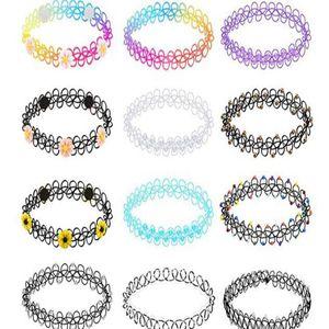 12 pcs colares trecho gótico gargantilha do arco-íris Flores gargantilha tatuagem para mulheres e meninas gargantilha elástica set crianças Jóias Acessórios