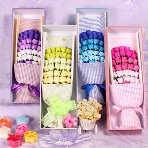 33PCS 비누 꽃 꽃다발 장미 선물 포장 꽃잎 비누 발렌타인 데이 선물 크리스마스 선물 생일 선물