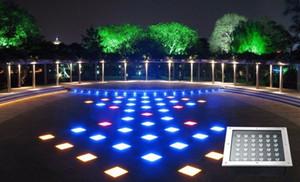 Luzes subterrâneas LED quadrado inground deck parede jardim caminho enterrado escada do chão da paisagem lâmpadas 3W / 4W / 5W / 6W / 9W / 12W / 16W / 24W / 36W LLFA