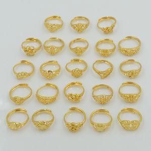 Anello in ottone dorato regolabile per donna semplice 24K con anello di cerimonia nuziale all'ingrosso