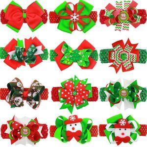 Mädchen Weihnachten Ripsband Bogen Haarnadel 2in1 Gehäkelte Haarband handgemachte matte Band großer Bogen Haarband Kinder XMAS Festes Haar acc