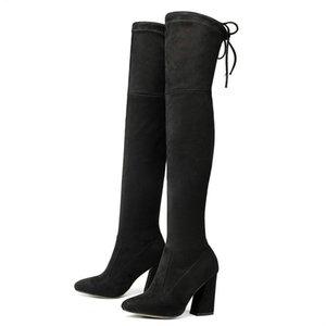 YENI Sucrb Deri Kadınlar Diz Boots Dantel Up Seksi Toynak Topuklar Kadın Ayakkabı Topraklar Kış Sıcak Boyutu 34-43 Ücretsiz Kargo