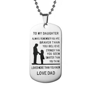 Dış Ticaret Sıcak Satış Takı Paslanmaz Çelik Etiket Kolye Baba Gelen Kızım Mektuplar Askeri Lisanslama Kolye
