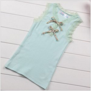 2016 New Cute Girls Lace Tank Tops Children Sleeveless Vest T-shirt Kids Clothing Fashion Girl 100% Cotton Tees 100-140cm 2 Colors 10pcs lot