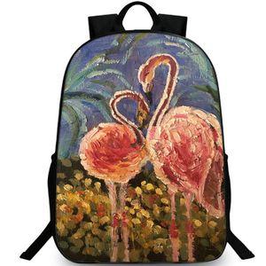 Flamingo рюкзак Известных искусств рюкзак картина масло красная птица портфель ДОСУГ рюкзака Спортивной школа сумка Открытого день пакет