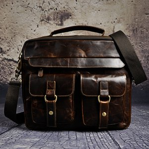 "Vente en gros - Mens véritables cuir véritable style Antique Porte-documents Business 13 ""Laptop Cases Attache Portfolio Sacs Fourre-tout B207"