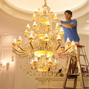 European villas complex building staircase chandelier living room crystal pendant lamp culb restaurant hotel hall jade crystal chandelier
