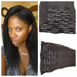 Clip en Indian Hair 120g Color natural Clip Extensiones de cabello humano 18 pulgadas yaki Straight Indian Clip Ins G-EASY