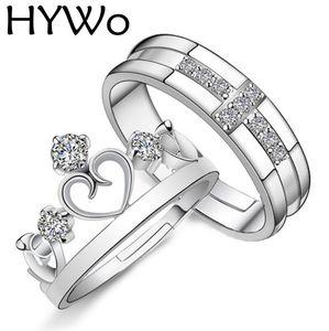 HYWo Marcas 1 Par Prateado Príncipe Princesa Coroa CZ Cristal Promise Anel Set Par para Os Amantes Casal Anéis para Mulheres Homens