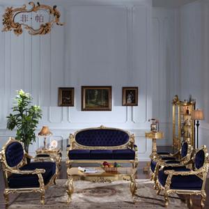 Mobiliário de sala de estar clássico de alta qualidade - Conjunto de sofá clássico europeu com douramento de folha de ouro - Luxo de mobiliário italiano