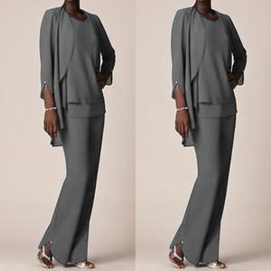 Grey Chiffon Formal pantalón trajes para los vestidos del novio de la madre 2021 ropa de noche Larga Madre de los vestidos de la novia con chaquetas grandes Tamaño personalizado