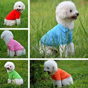 Pet Tişörtleri 2017 Yaz Katı Köpek Giysileri Moda Klasik T Shirt Pamuk Giysileri Köpek Yavru Küçük Köpek Giysileri Ucuz Pet Giyim IA907