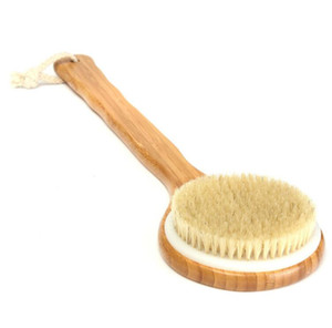 Wooden Bath Shower Body Back Brush Bristle Long Handle Spa Scrubber Soap Cleaner Exfoliating Bathroom Tools