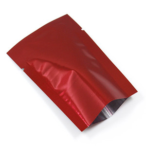 400Pcs / Lot Rouge Feuille D'aluminium Vide Ouvert Top Stockage des aliments Paquet Sacs Pour Noix Collations Thé Emballage Thermoscellé Mylar Pack Pochettes Sac