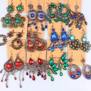 Mezcla aleatoria 10 estilo 20 Par / lote Vintage Tibetano Plata / Bronce Resina Gema gota Earings Dangle Pendientes