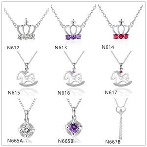 Sıcak satış kadınların taş gümüş kolye kolye GTP16, taç Truvalılar (zinciriyle) 925 gümüş kolye 10 adet çok karışık stil