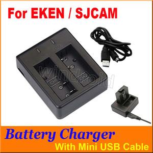 SJCAM EKEN Ação Câmera Acessórios Bateria Carregador Duplo Para SJ4000 SJ4000 SJ4000 + SJ5000 SJ5000 + M10 + Cabo USB H9 W9 A9 DHL 30 pcs