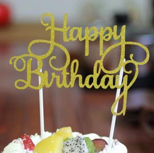 Glitter Happy Birthday Flag Cake Topper Decorazione Bomboniere Adesivo Decor Banner Card Torta di compleanno Accessorio 100 pz / lotto G1036