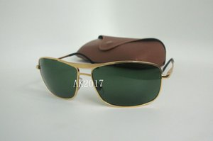 1Pair High Quality Mens Rectangle Sports Sunglasses Eyewear Sun Glasses Gold Metal Glass Lenses With Brown Cases