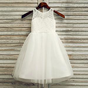 2020 flor agradável Meninas Vestidos colher decote Handmade Flores crianças veste para a comunhão meninas de casamento vestido longo