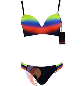 Nuevo estilo Andzhelika Traje de baño Mujeres Sexy Vendaje Rainbow Push Up Bikini Set Copa grande Traje de baño acolchado Maillot de bain Monokini XXL