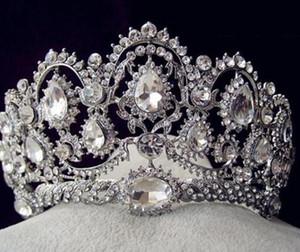 Faísca Frisada Cristais Coroas De Casamento nova Nupcial Véu De Cristal Tiara Coroa Headband Do Cabelo Acessórios de Festa de Casamento Tiara HT133