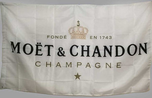 Bandera de bandera blanca personalizada para Moet Chandon Champagne 3x5 pies Poliéster Banner de barra de alta calidad