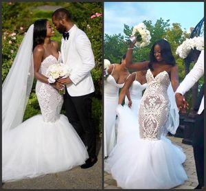 2017 mais novo rendas sexy plus size praia branca de cristal vestidos de casamento sereia sexy sereia frisada vestidos de casamento