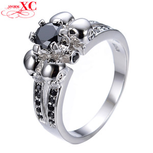 Wholesale-Vintage Skull Black Sapphire Jewelry Halloween Gift Sz6-10 Women Men Ring Anel Aneis White Gold Filled CZ Wedding Rings RW1129