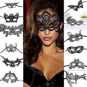 Wholesale- 1PCS Black Women Sexy Lace Eye Mask Party Masks For Masquerade Halloween Venetian Costumes Carnival Mask For Anonymous Mardi