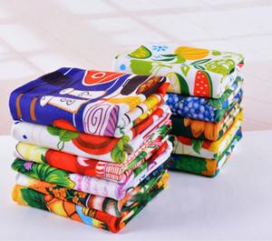 Hot venda toalha Cozinha Dish pano de limpeza 10pcs / lot microfibra absorvente colorido reativa impresso toalhas de chá de cozinha Tools